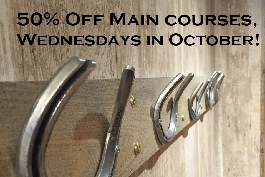 50% off main courses
